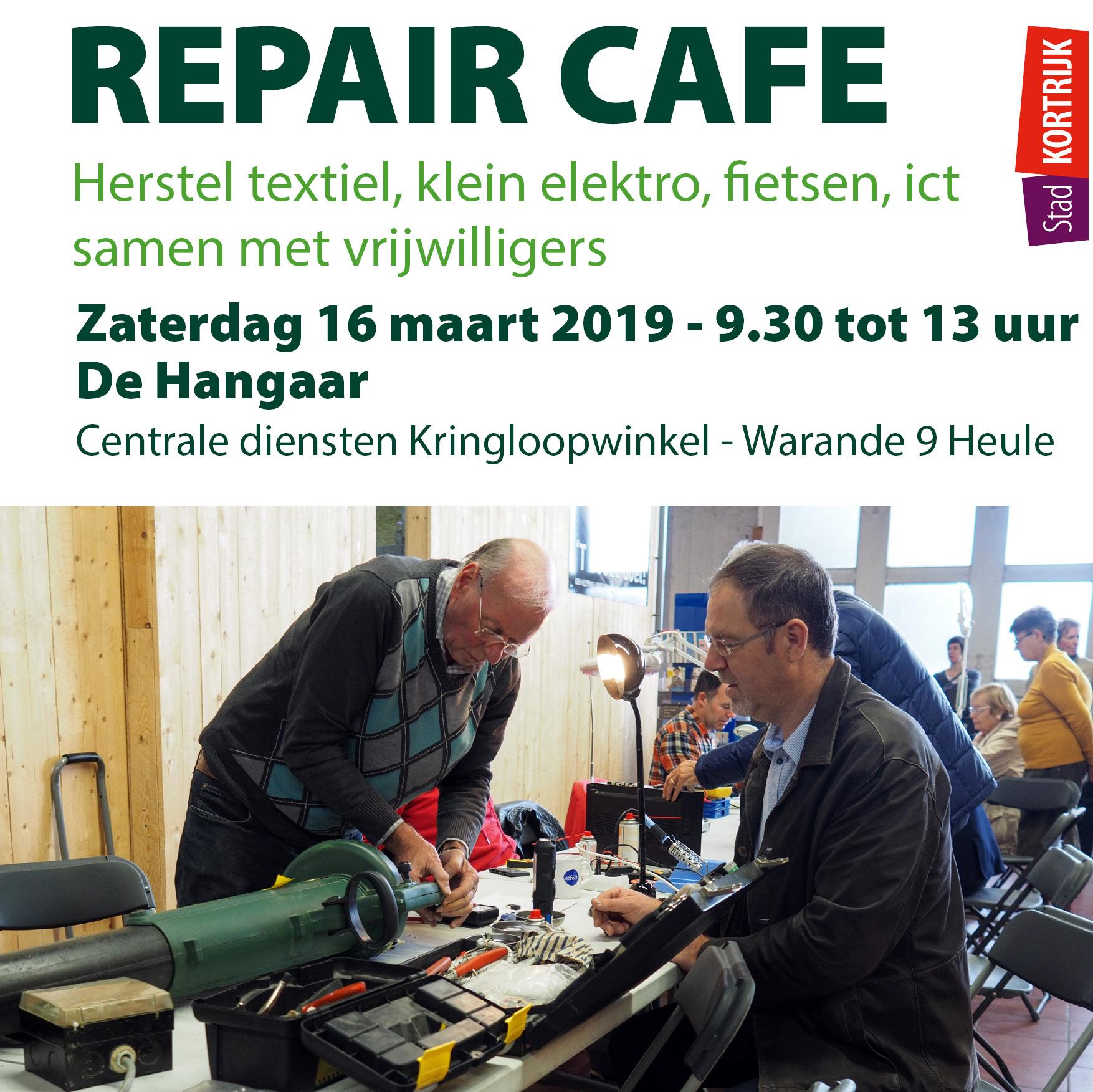 Repair Café in Hangaar op 16 maart